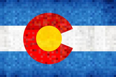 Abstract grunge mosaic flag of Colorado - illustration,  The flag of the state of Colorado Çizim