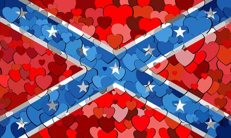 Confederate flag made of hearts background - Illustration,  Abstract mosaic grunge Confederate Flag,  The Blood-Stained Banner,  Flags of the Confederate with hearts background