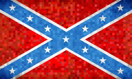 Abstract grunge mosaic Confederate Flag - illustration,  The Blood-Stained Banner Çizim