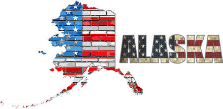 USA state of Alaska on a brick wall - Illustration, The flag of the state of Alaska on brick textured background,  Alaska Flag painted on brick wall, Font with the United States flag