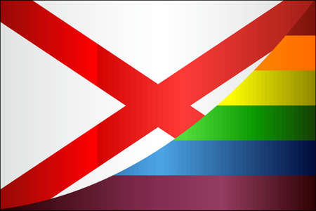 Grunge Alabama and Gay flags - Illustration, Abstract grunge Alabama Flag and LGBT flag