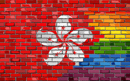 Brick Wall Hong Kong and Gay flags - Illustration, Rainbow and Hong Kong flag on brick textured background,  Abstract grunge Hong Kong flag and LGBT flag Illustration