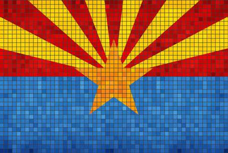 Abstract Mosaic flag of Arizona - illustration,  The flag of the state of Arizona,  Arizona grunge mosaic flag Ilustrace