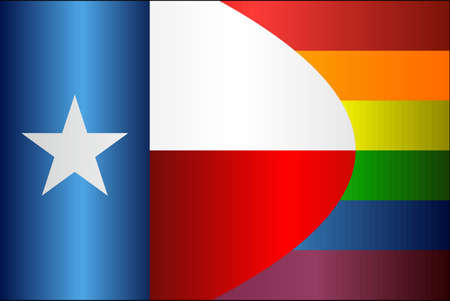 Grunge Texas and Gay flags - Illustration, Abstract grunge Texas Flag and LGBT flag