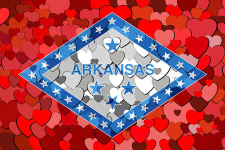 Arkansas made of hearts background - Illustration,  Flag of Arkansas with hearts background Çizim