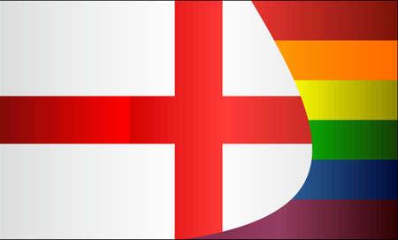 Grunge Inglaterra y banderas gay - Ilustración, bandera inglesa abstracta grunge y bandera LGBT