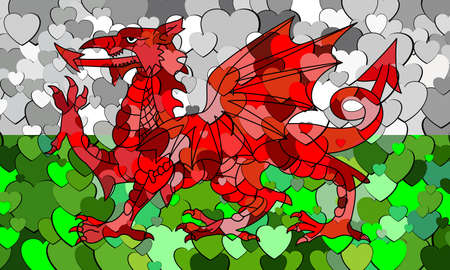 Welsh flag made of hearts background - Illustration, Flag of Wales with hearts background