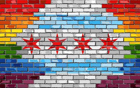 Brick Wall Chicago y banderas gay - Ilustración, bandera del arco iris sobre fondo de textura de ladrillo, bandera de Chicago abstracta grunge y bandera LGBT