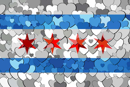 Chicago made of hearts background - Illustration,  Flag of Chicago with hearts background