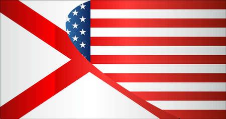 Flag of USA and Alabama state - Illustration,  Mixed Flags of the USA and Alabama Illusztráció