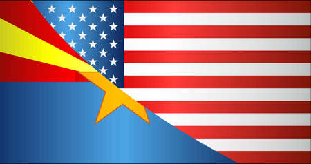 Flag of USA and Arizona state - Illustration,  Mixed Flags of the USA and Arizona