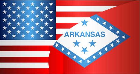 Flag of USA and Arkansas state - Illustration,  Mixed Flags of the USA and Arkansas Illustration
