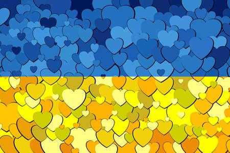 Ukraine Flag made of hearts background - Illustration,  Abstract grunge Ukrainian flag