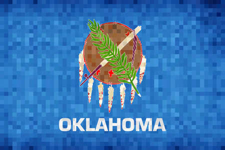 Abstract grunge mosaic flag of Oklahoma - illustration,  The flag of the state of Oklahoma