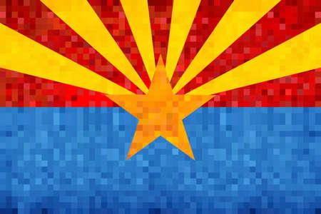 Abstract grunge mosaic flag of Arizona - illustration,  The flag of the state of Arizona Illusztráció