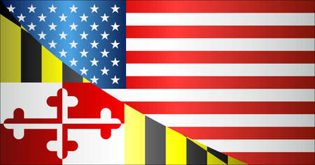Flag of USA and Maryland state - Illustration, Mixed Flags of the USA and Maryland