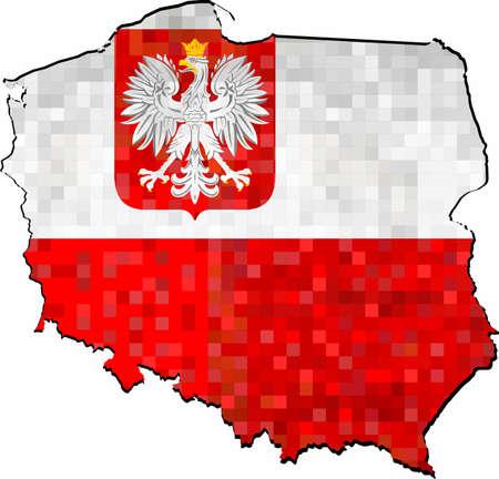 Grunge-Polen-Karte mit Flagge im Inneren - Illustration, abstrakte Grunge-Mosaik-Karte von Polen