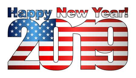Happy New Year 2019 with USA flag inside - Illustration, 2019 HAPPY NEW YEAR NUMERALS, 2019 USA American Flag Numbers Vektorové ilustrace