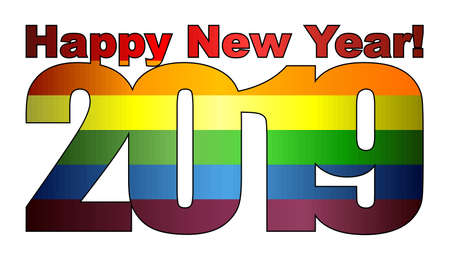 Happy New Year 2019 with LGBT flag inside - Illustration, 2019 HAPPY NEW YEAR NUMERALS, 2019 Rainbow flag Numbers