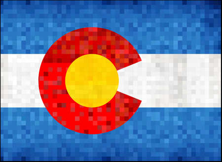 Grunge Colorado map with flag inside - Illustration,  Map of Colorado vector,   Abstract grunge mosaic flag of Colorado