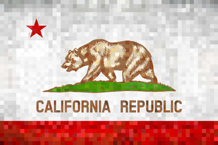 Abstract grunge mosaic flag of California - illustration,  The Bear Flag 矢量图像