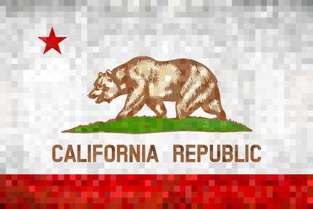 Abstract grunge mosaic flag of California - illustration,  The Bear Flag Ilustrace