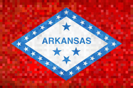 Abstract grunge mosaic flag of Arkansas - illustration,  The flag of the state of Arkansas