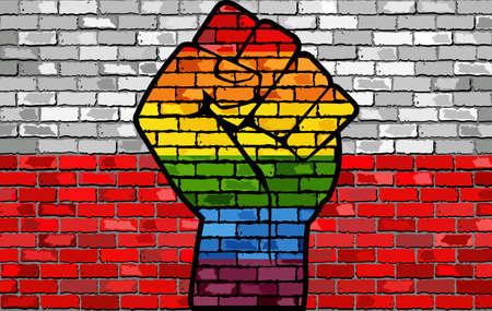 LGBT Protest Fist on a Poland brick Wall Flag - Illustration,  Brick Wall Poland flag and Gay flags