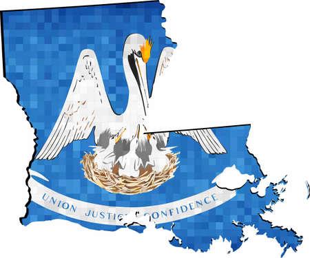 Carte de la Louisiane grunge avec drapeau à l'intérieur - Illustration, carte de la Louisiane vecteur, drapeau de la mosaïque grunge abstraite de la Louisiane Vecteurs