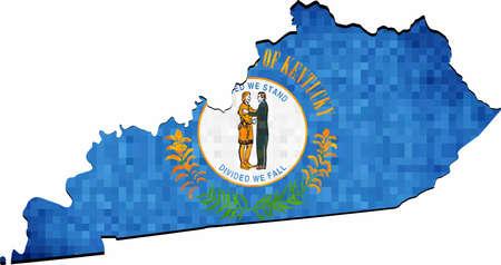 Grunge Kentucky map with flag inside - Illustration,  Map of Kentucky vector,   Abstract grunge mosaic flag of Kentucky