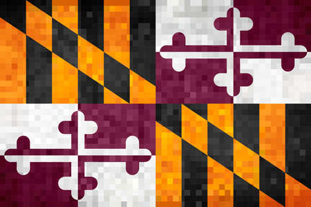 Abstract grunge mosaic flag of Maryland - illustration, The flag of the state of Maryland Ilustração Vetorial