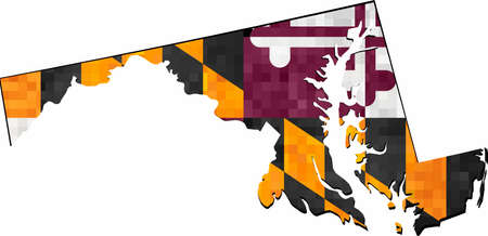 Grunge Maryland map with flag inside - Illustration,  Map of Maryland vector,   Abstract grunge mosaic flag of Maryland
