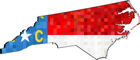 Grunge North Carolina map with flag inside - Illustration,  Map of North Carolina vector,   Abstract grunge mosaic flag of North Carolina