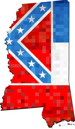 Grunge Mississippi map with flag inside - Illustration,  Map of Mississippi vector,   Abstract grunge mosaic flag of Massachusetts