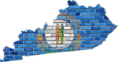 Kentucky map on a brick wall - Illustration,   The state of Kentucky map with flag inside Stock Illustratie