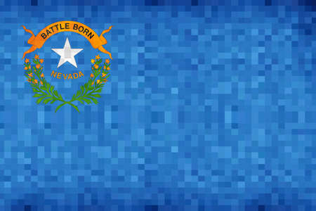 Abstract grunge mosaic flag of Nevada - illustration,  The flag of the state of Nevada