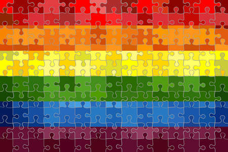Gay pride flag made of puzzle background - Illustration