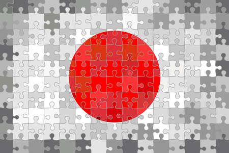 Japan flag made of puzzle background - Illustration