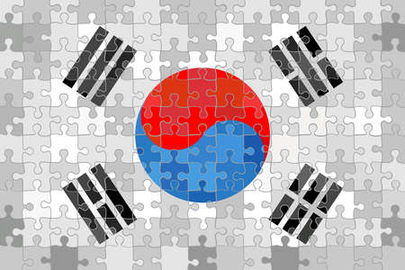 South Korea flag made of puzzle background - Illustration Ilustração