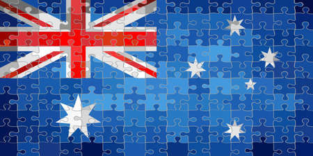 Australia flag made of puzzle background - Illustration