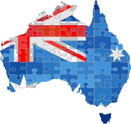 Australia map made of puzzle background - Illustration Illustration