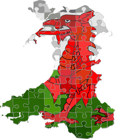Wales map made of puzzle background - Illustration