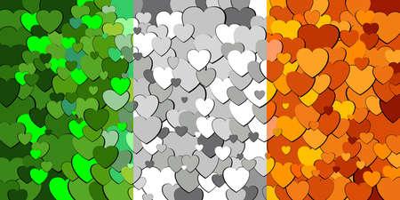 Ireland flag made of hearts background - Illustration