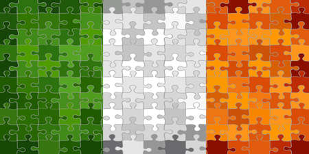 Ireland flag made of puzzle background - Illustration Çizim