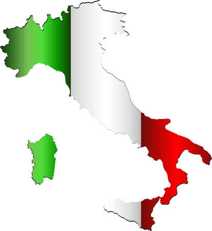 Italy map with flag inside - Illustration