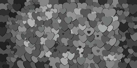 Abstract background with black hearts - Illustration, Various shades of black hearts background