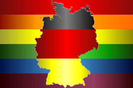 Grunge Germany and Gay flags - Illustration, Abstract Germany map and rainbow flag Çizim
