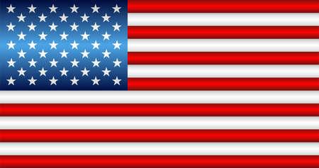 Shiny flag of the USA - Illustration,  Three dimensional flag of USA