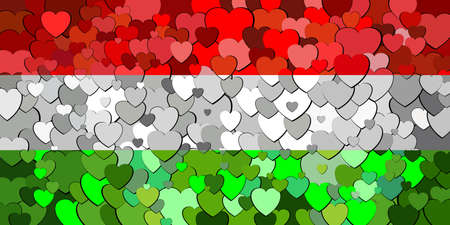 Hungary flag made of hearts background - Illustration Çizim