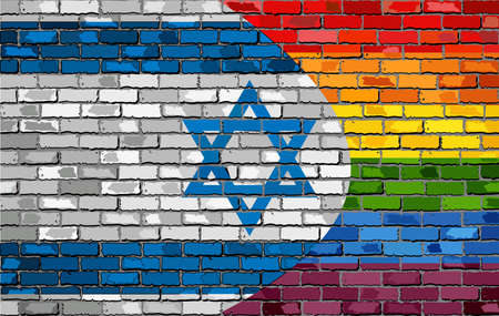 Brick Wall Israel and Gay flags - Illustration, Rainbow and Israel flag on brick textured background